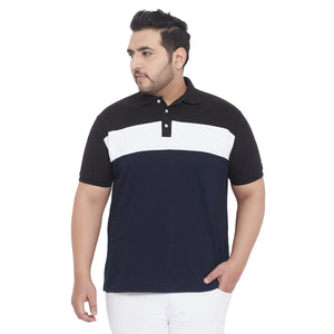 bigbanana Grayson Navy Blue & White Colourblocked Polo Collar T-shirt