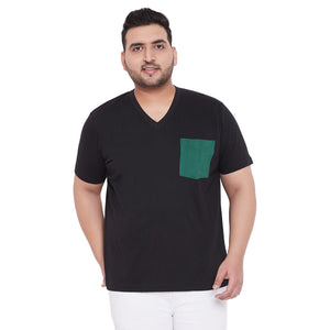 bigbanana Hagan Black Solid V Neck Plus Size T-shirt