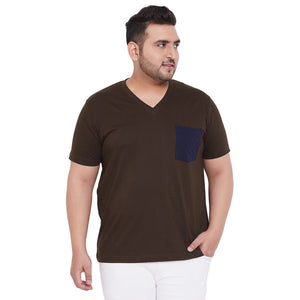 bigbanana Hagan Brown Solid V Neck Plus Size T-shirt