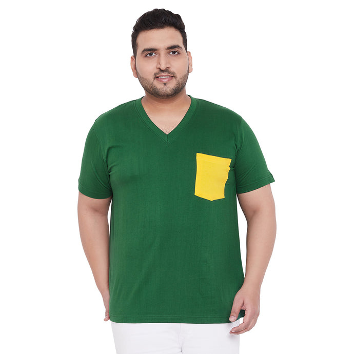 bigbanana Hagan Green Solid V Neck Plus Size T-shirt