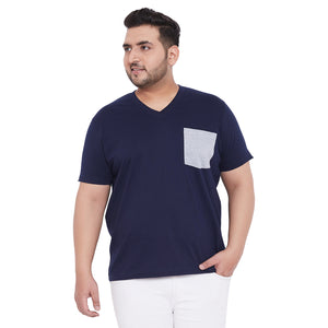 bigbanana Hagan Navy Blue Solid V Neck Plus Size T-shirt