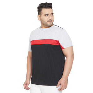 bigbanana Hammer Multicolor Colorblocked Round Plus Size Neck T-shirt