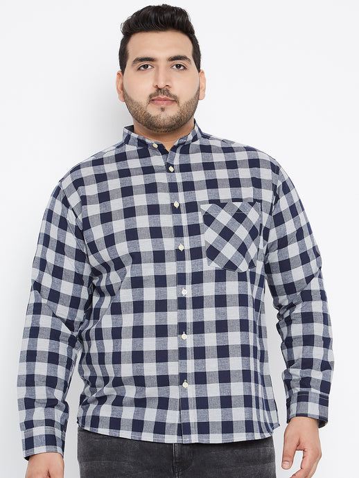 Long Sleeves HARLEY Casual Shirt in Grey and Navy buffalo Checks