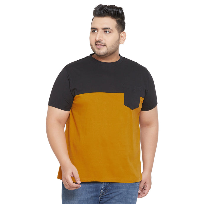 bigbanana Hicks Mustard and Black Colorblocked Round Plus Size Neck T-shirt