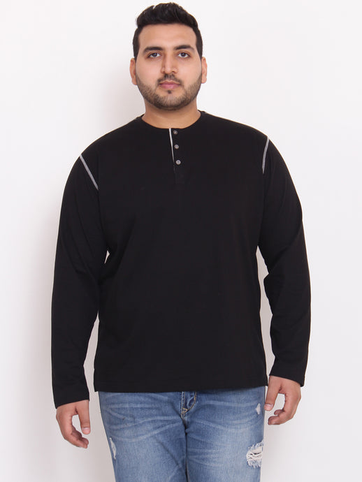 bigbanana Highway Henley black Color with contrast stitching - Bigbanana