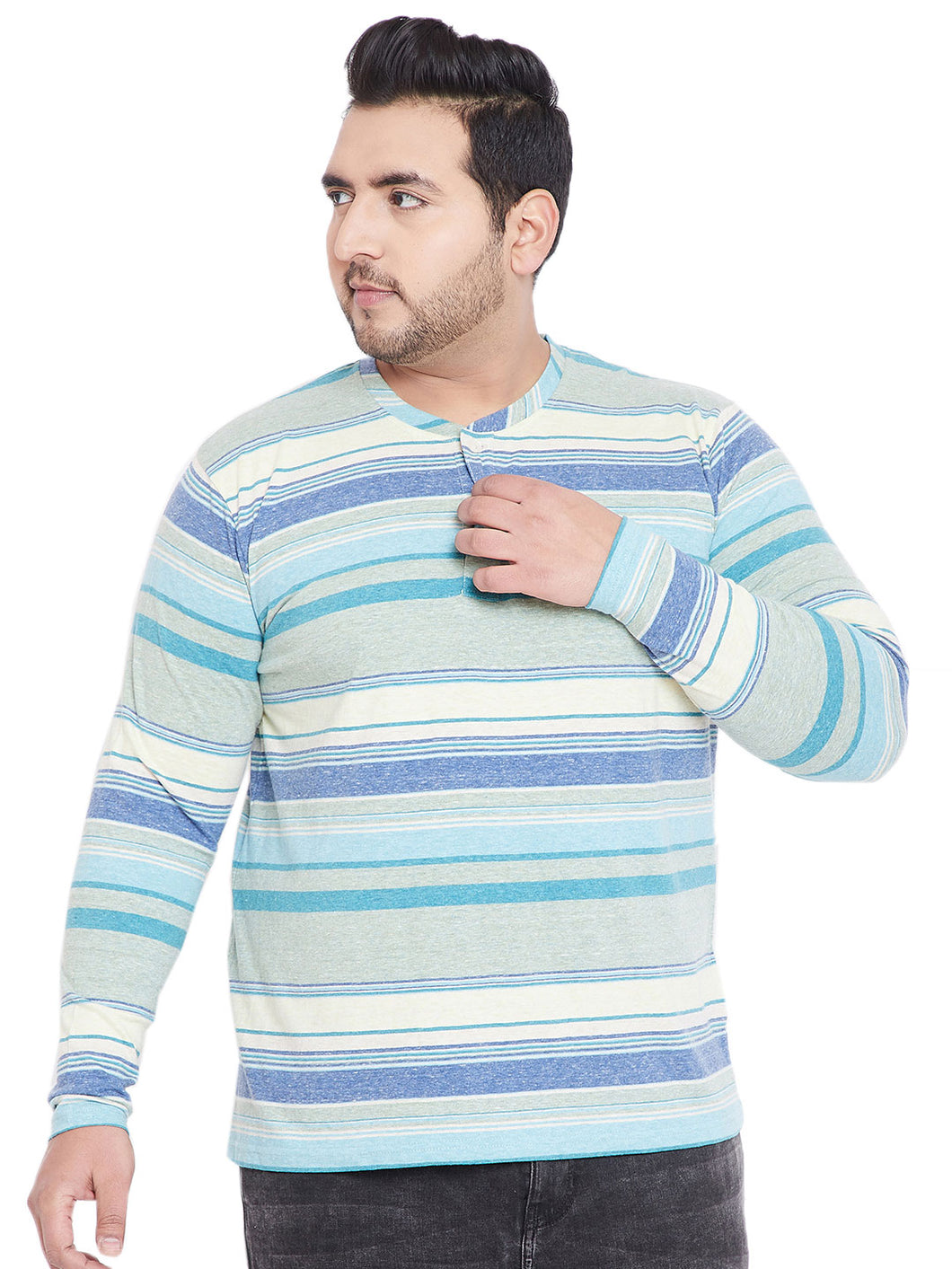 bigabanana Homer Blue & White Yarndyed Striped Henley Neck T-shirt