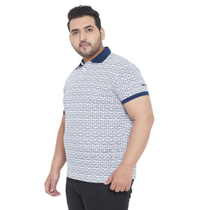 bigbanana Hope White Printed Polo Collar T-shirt