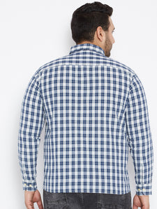 bigbanana Long Sleeves HUGO  Casual Shirt in Blue and White Tartan Checks - Bigbanana