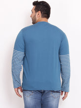 Plus size Henley TShirt in half striped sleeves