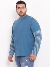 Plus Size Henley T Shirt half striped sleeves