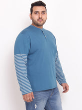 XL Henley TShirt half striped sleeves