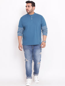 Henley TShirt half striped sleeves