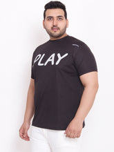 Plus Size Round Neck black printed T-Shirt