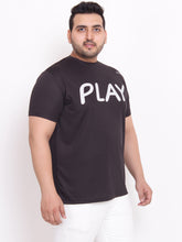Plus Size Almond Round Neck black printed T-Shirt