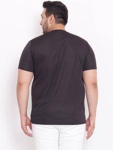 XL Almond Round Neck black printed T-Shirt