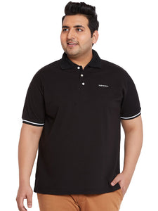 bigbanana Jackson Black Solid Polo Collar T-shirt