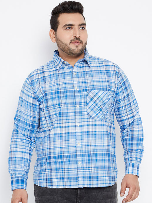 Long Sleeves JAMES Sky blue and White Casual Shirts in Madras Checks