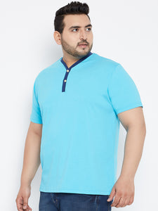bigbanana JESSE Solid Henley Tshirt in Turquoise Blue Color