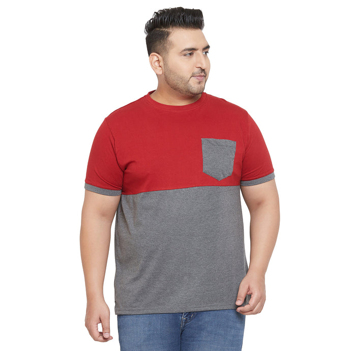 bigbanana Jule Grey and Maroon Colorblocked Round Plus Size Neck T-shirt