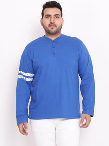 bigbanana Keith Henley Royal blue color with stripe on sleeves