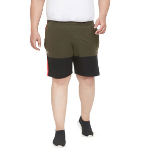 bigbanana Kobel Olive Green Colourblocked Antimicrobial Sports Shorts