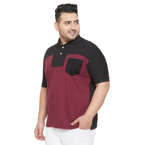 bigbanana Lark Maroon and Black Plus Size Colorblocked Polo T-Shirt