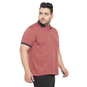 bigbanana Lemo Red and Black Striped Polo Collar Bio Finish T-shirt