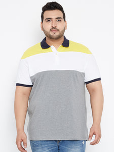 bigbanana Leo Polo Tshirts in Grey and White Colorblock - Bigbanana