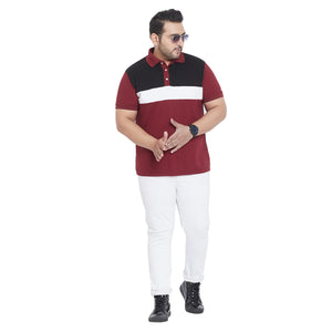 bigbanana Loft Maroon Colourblocked Plus Size Polo T-shirt