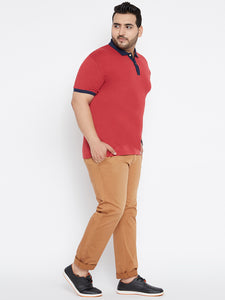 plus size LOUIE Polo T-shirts in Magenta and Navy