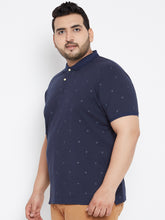 LUCA Star Print Polo T-Shirt in Navy Blue Color - Bigbanana