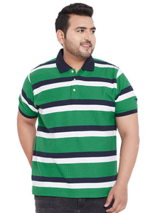bigbanana Lyon Green Striped Plus SIze Polo T-shirt