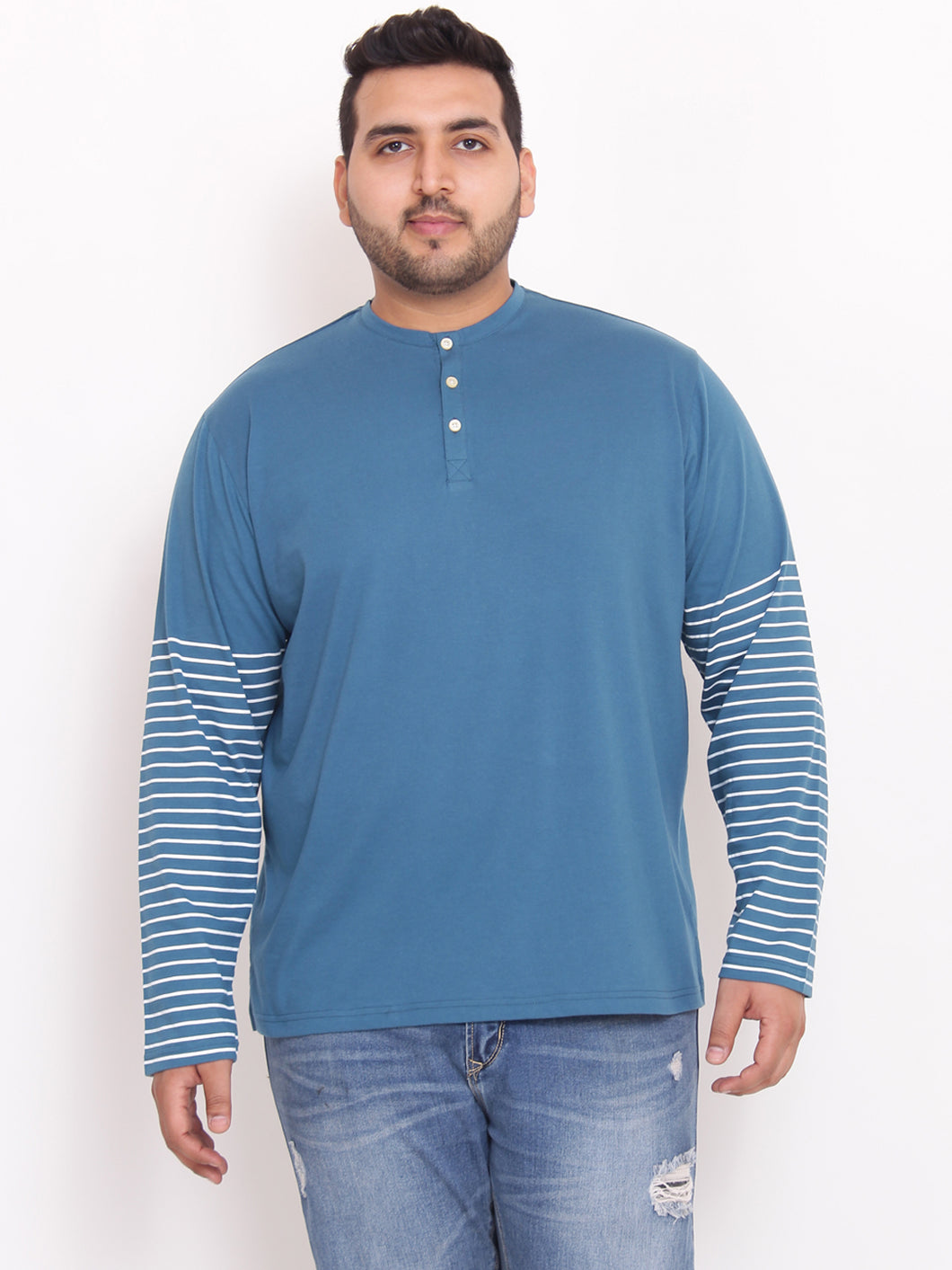 Devin Henley blue Color in half striped sleeves