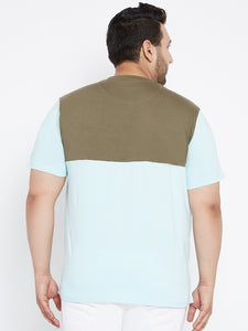MANIE Colorblocked Henley Tshirt in Olive and Blue Color - Bigbanana