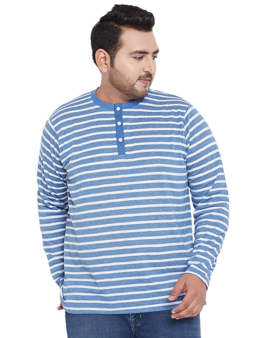 bigbanana Marshall Blue Striped Round Neck Plus SIze T-shirt