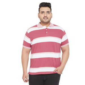 bigbanana Mauve Pink and White Plus Size Colorblocked Polo T-Shirt