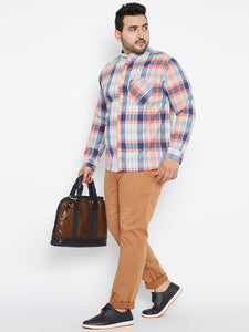 Plus size Long Sleeves Casual Shirts in Madras Checks