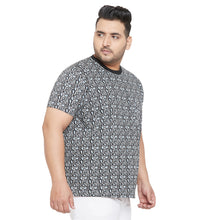 bigbanana Milson Grey and Black  Printed Round Neck T-shirt