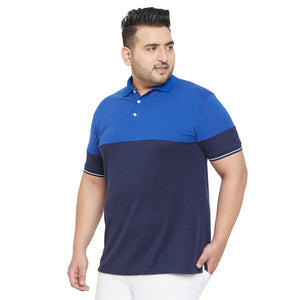 bigbanana Mold Royal & Navy blue Coloblocked Polo Collar Bio Finish T-shirt