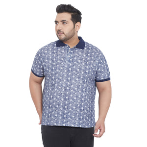 bigbanana Nash Blue Printed Plus Size Polo Collar T-shirt