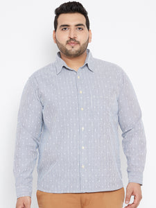 Long Sleeves OLIVER  Casual Shirt in Blue Dobby Stripes