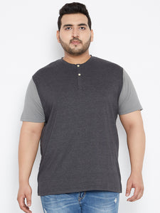bigbanana OTIS Colorblocked Henley Tshirt in Charcoal and Grey Color