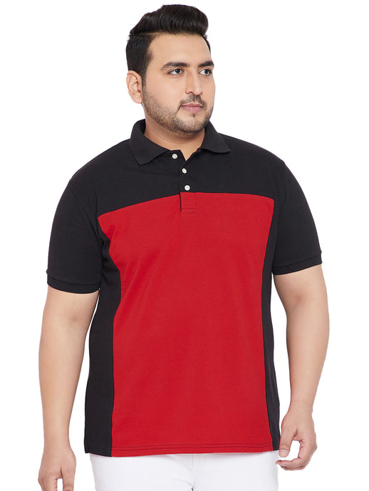 bigbanana Piper Red and Black Colorblocked Plus Size Polo T-Shirt