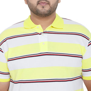 bigbanana Presley Yellow & White Striped Polo Collar T-shirt
