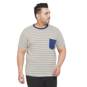 bigbanana Raft Multicolor Striped Round Neck Bio Finish T-shirt