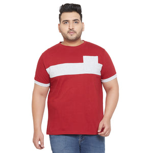 bigbanana Ramp Grey and Maroon Colorblocked Round Plus Size Neck T-shirt