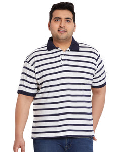 bigbanana Randolf White Striped Polo Collar T-shirt