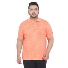 bigbanana Range Orange Printed Plus Size Polo Collar T-shirt