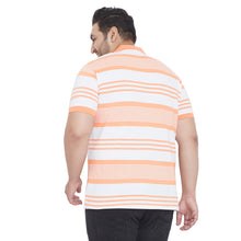 bigbanana River Orange Striped Plus Size Polo Collar T-shirt