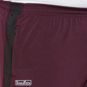 bigbanana Robey Maroon and black solid mid-rise sports shorts